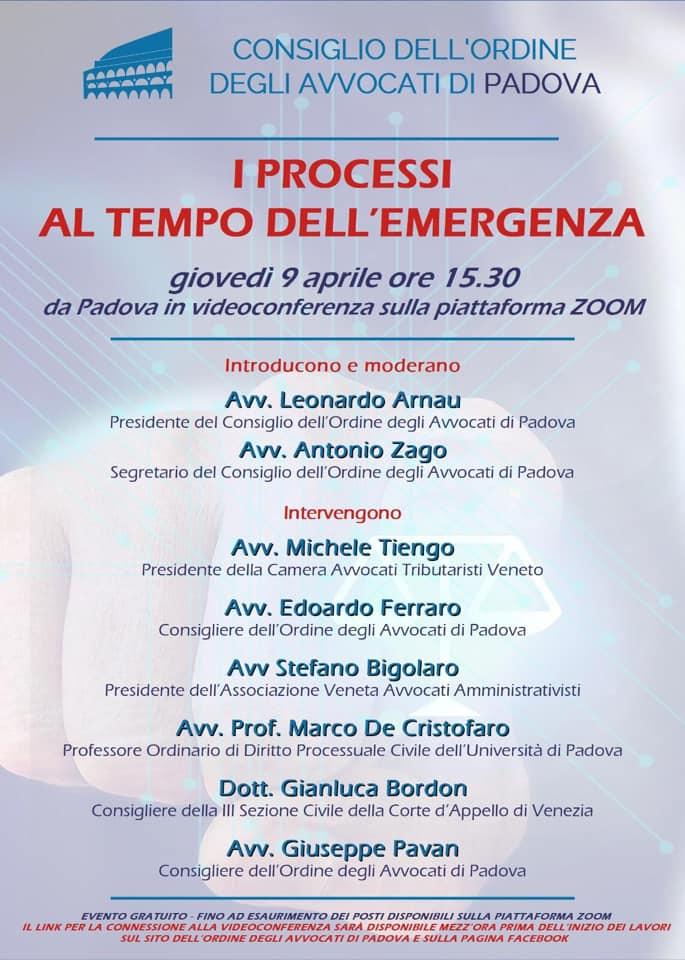 COVID-19: I PROCESSI AL TEMPO DELL'EMERGENZA. @ Piattaforma Zoom