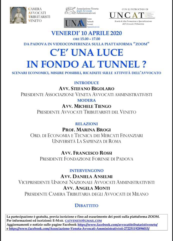 COVID19: C'È' UNA LUCE IN FONDO AL TUNNEL PER L'ITALIA E PER GLI AVVOCATI? @ Piattaforma Zoom