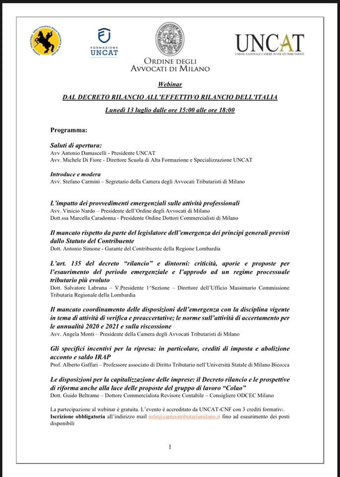 DAL DECRETO RILANCIO AL RILANCIO DELL'ITALIA